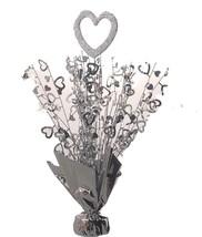 "2 Heart balloon weights 15"" tall metallic silver - $9.85"
