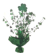 "2 Shamrock balloon weights 15"" tall metallic green - $9.85"