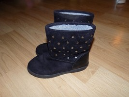 Size 1 Rampage Girls Black Studded Faux Suede Winter Boots Gelsey EUC - £16.88 GBP