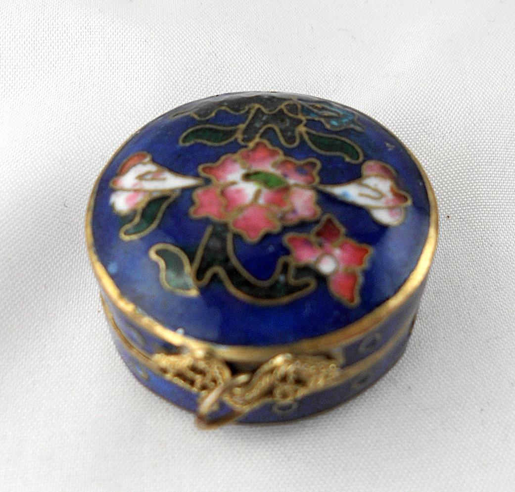 Cloisonne Hinged Enamel Floral Trinket Box