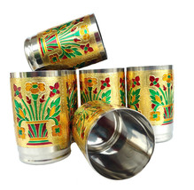 Stainless Steel Meena Hand Work Set of 6 Drink ware Glass Diwali Gift It... - $63.43