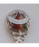 Collector Souvenir Spoon Canada Ontario Niagara Falls Maple Leaf Cloisonne - $2.99
