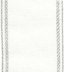 "Primary image for 27ct Bethany Antique White/Silver banding 2.7""w x 36"" (1yd) 100% linen Mill Hill"