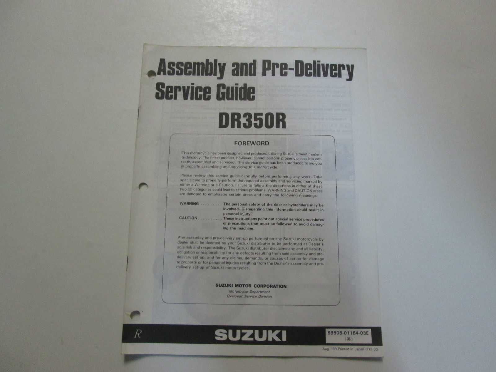 1993 Suzuki DR350R Assembly Pre Delivery Service Guide Manual MINOR STAINS  OEM