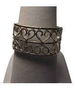 Beautiful Sterling Silver Diamond Cut Double Heart Band Ring - $25.00