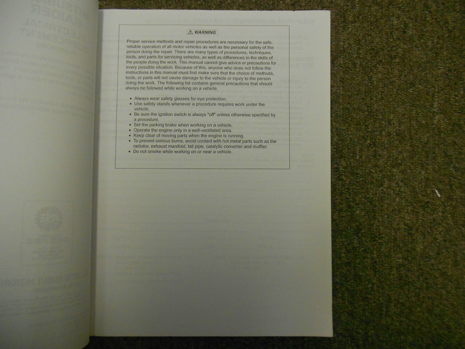 2007 MITSUBISHI Raider Electrical Supplement Service Repair Shop Manual WORN 07 image 3