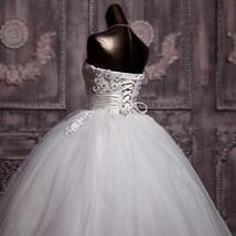 3D Floral Lace Corset Wedding Ball Gown Puffy Princess Wedding Dress image 2