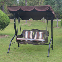 Swing With Canopy Porch Bench Glider Adjustable Canopy Patio Wicker Furn... - $296.99