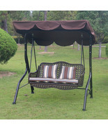 Swing With Canopy Porch Bench Glider Adjustable Canopy Patio Wicker Furn... - £238.46 GBP