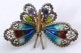 Butterfly Brooch 800 Vermeil Filigree Enamel image 5
