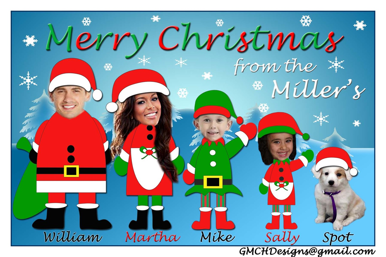 Unique fun custom christmas holiday card personalized for Unique family christmas cards