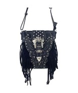 Western Rhinestone Buckle Fringe Messenger Bag Cross Body Purse w/ Gun P... - $35.99