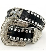 Biker Maltese Cross Rhinestone Belt Black Croco... - $49.99