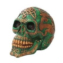 Amazing Large Green Celtic Tattoo Skull Head Figurine Skeleton Oversize ... - £87.77 GBP