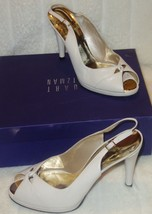 Stuart Weitzman  shoes sling backs leather white ivory sz 39.5 US SZ 9 new - $133.85