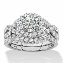 2.18 TCW 2-Piece Round Cubic Zirconia Platinum over .925 Silver Wedding ... - $109.82