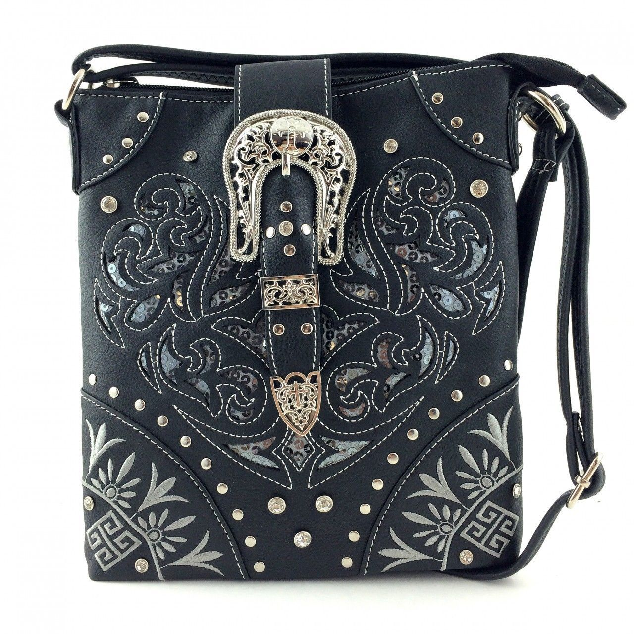 Western Buckle Laser Cut Messenger Bag Cross Body Purse w/ Concealed Gun Pocket