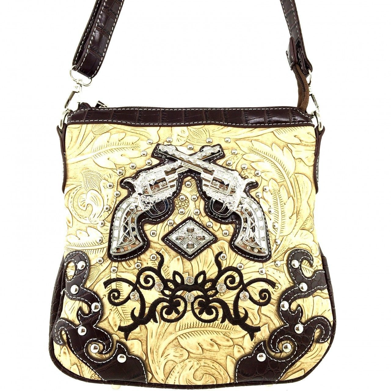 Embossed Western Rhinestone Pistols Cross Body Purse Messenger Bag Crocodile