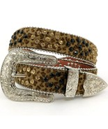 Rhinestone Buckle Soft Leopard Print Belt with ... - $49.99