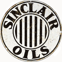 Sinclair Oils Round Black and White Gas Sign - $25.74