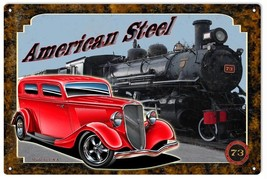 American Steel Classic Hot Rod And Train Engine Sign - $23.76