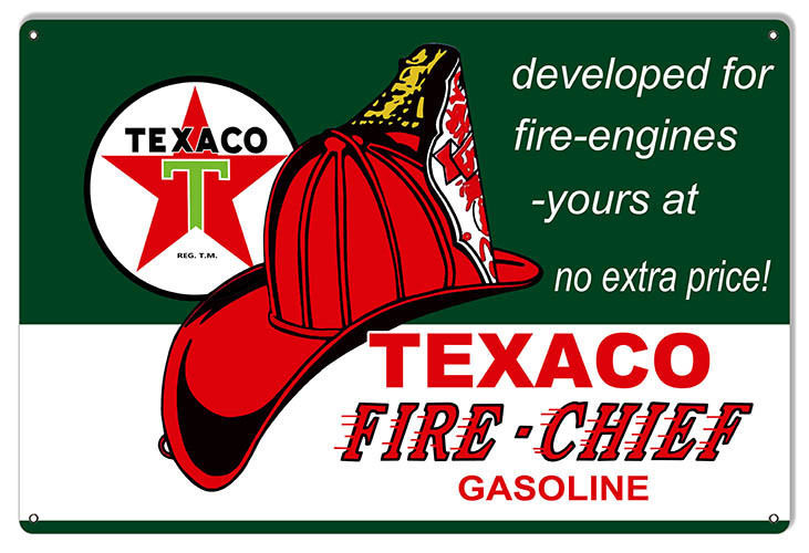 Large Developed For Fire Engines Texaco Motor Oil Sign 16X24