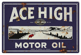Large Reproduction Ace High Motor Oil Sign 16X24 - $39.60