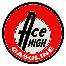 Large Ace High Gasoline Motor Oil Sign 18 Round - $44.55