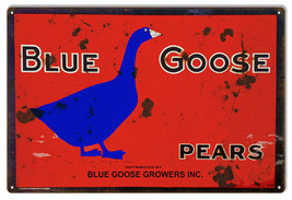 "Vintage Blue Goose Pears Sign 12""x18"" - $23.76"