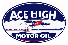 Motor Oil Sign Ace High Master Lubrication 9X14... - $24.75
