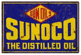 "Reproduction Sunoco Distilled Oil Sign 12""x18"" - $21.78"