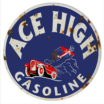 Reproduction Aged Look Ace High Gasoline 14 inc... - $23.76