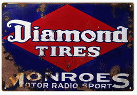 """Reproduction Aged Diamond Tires Gas And Motor Oils Sign 12""""x18"""" - $25.74"""