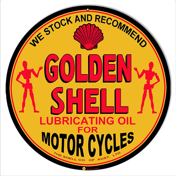 Golden Shell Lubrication Oil For Motorcycles Sign 14 Round