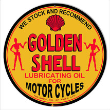 Golden Shell Lubrication Oil For Motorcycles Sign 14 Round - $23.76