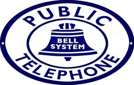 Public Telephone Bell Systems Nostalgic Sign - $26.73