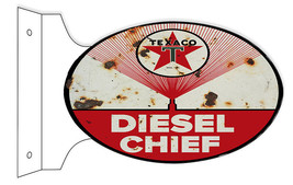 Aged Faux Rust Texaco Diesel Chief Gasoline Double Sided Flange Sign - $50.49