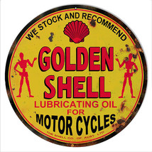 """Reproduction Golden Shell Lubrication Oil For Motorcycles Sign 18"""" - $44.55"""