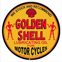 Golden Shell Lubrication Oil For Motorcycles Sign 18 Round - $44.55