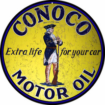 Conoco Motor Oil Extra Life For Your Car Sign - $25.74