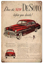 Drive The New DeSoto Before You Decide Chrysler Corp Advertisement Sign - $25.74