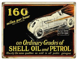 Reproduction 160 Miles Per Hour Shell Motor Oil Sign 9X12 - $19.80