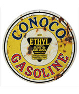 Reproduction Yellow Conoco Gasoline Motor Oil Sign 14 Round - $25.74