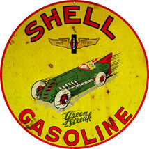"""Reproduction Aged  Shell Race Track Tested Gasoline Sign. 18""""x18"""" - $46.53"""
