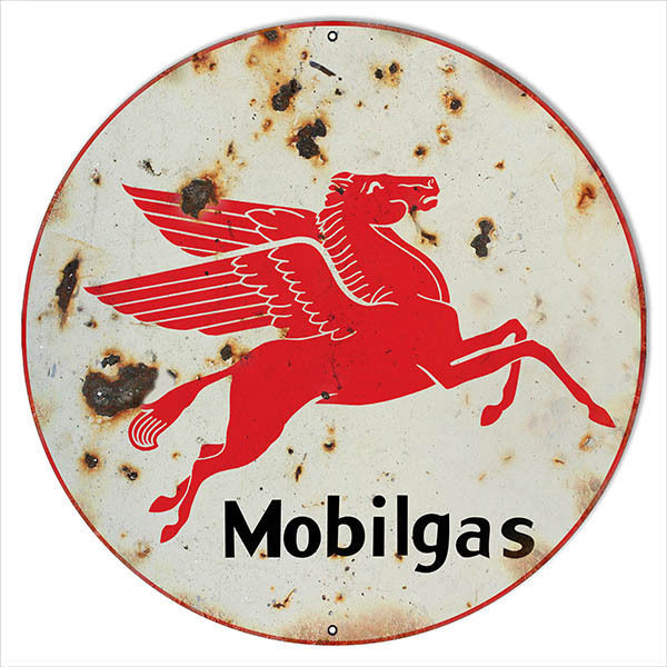 Extra Large Faux Rust Mobilgas Gasoline Sign Round 24 in