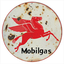 Extra Large Faux Rust Mobilgas Gasoline Sign Round 24 in - $79.20