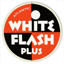 Large White Flash Plus Motor Oil Sign 18 Round - $44.55
