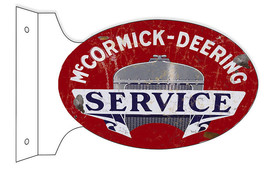 Aged Reproduction McCormick Deering Service Double Sided Flange Sign - $50.49