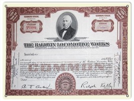Reproduction The Baldwin Locomotive Works Common Stock Certificate Sign - $19.80