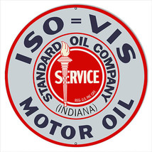 Large ISO VIS Standard Service Motor Oil Sign 18 Round - $44.55